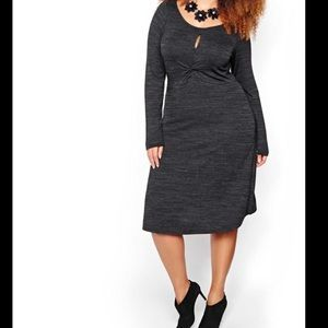 Michel Studio Gray Knit Midi Dress with Keyhole